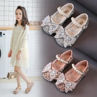 Flat Shoes 2021Spring Kids Silver Pink Rhinestone Crystal Princess For Wedding Party Girls Dance Performance Children