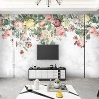 Пользовательские 3d фото обои современные минималистские ручные росписью цветы мраморные шаблон гостиной телевизор фоновый стеновый росписейский дом декор