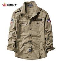 Otoño primavera hombres militar estilo casual 100% algodón puro camisa de manga larga camisa del ejército masculino camisas verde azul Tops azules 210615
