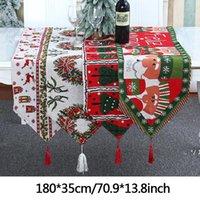 Christmas Cartoon Elk Table Runner Decoração Papai Noel Knit Dining Secretária Pano Tassels Xmas Tree Family Party Gift Gift Fewe9097