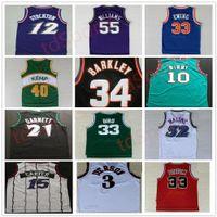 Jerseys de basketball rétro Carter McGrady Penny Hakeem Stockton 32 Karl Malone 33 Hill Ason West Allen 3 Iverson Mike Bibby Kevin Garnett Vintage