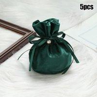 Tarjetas de felicitación 5 × Bolsas de regalo de terciopelo de lujo con cadena de perlas Fiesta de cumpleaños de Navidad Cooikes Cajas de caramelo Joyas de joyería