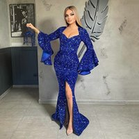 Royal blue Sequins Mermaid Evening Dress Long Sleeves Front Slit Night Gala Gowns Formal Party Gown Special Occasion Dresses