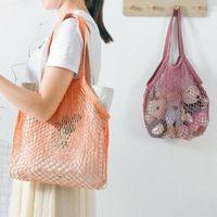 Alışveriş Çantaları Mesh Net Pamuk Çanta Kullanımlık Shopper Tote Meyve Sebze Omuz Bakkal Depolama Eko Katlanabilir Dize Çanta