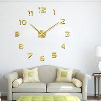 Wall Clocks Big Size Golden DIY Clock Frameless Large Digital Self-Adhesive Apartment Decorations Room Decor W