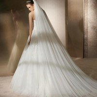 Bridal Veils White 3 M Long Trailing Two Layers Simple Cathedral Wedding Veil With Comb Vail Accesories For Bride