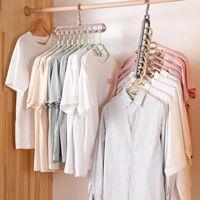 شماعات الملابس متعددة المنفذ دعم دائرة تجفيف الملابس رفوف 9 حفرة الدورية متعددة الوظائف البلاستيك وشاح الرف التخزين