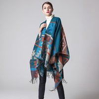 Scarves Brand Designer Womens Winter Cashmere Thickening Tassel Blanket Poncho Cape Shawl Oversize Cloak Wrap Coat Travel Tops