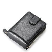 Card Holders Genuine Leather Unisex Business Holder Wallet Bank Case ID Women Cardholder Sets Zipper Purse
