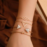 4Pcs  Set Geometric Bangle and Cuff Bracelets for Women Girls Gift Golden Color Stainless Steel Jewelry Fashion 2021