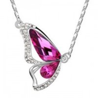 Collana della farfalla di cristallo delle donne di modo con la collana del pendente della lega corta della lega di diamante Regalo della festa della madre