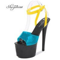 Sandales Shuzumiao Женщины Sexy Show 17 см Высокие каблуки Платформа Платформа Ремешок Braple Красочные Девушки Девушка Партия Club Drop Продажа