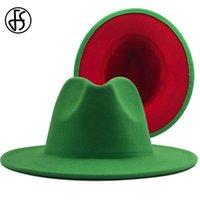 FS عيد الميلاد الأخضر الأحمر المرقعة حفلات الزفاف قبعة للنساء الرجال بنما الصوف فيلت فيدورا قبعة واسعة بريم العراب القبعات جاز قبعة