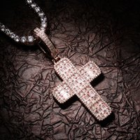 Iced Out Cross Pendant Necklaces Mens Rose Gold Necklace Fashion Hip Hop Jewelry