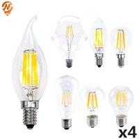 Ampuller 4 adet / grup LED Edison Ampul E27 G45 A60 C35 E14 G80 G95 G125 Filament Işık 220 V 2 W 4 W 6 W 8 W Retro Vintage Cam Lambası