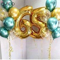 Gihoo 16pcs / lot عيد ميلاد حزب ديكور 12inch المعدنية الأخضر بالون 40 بوصة الذهب 1 2 3 4 5 6 7 8 9 عدد البالون للاستحمام الطفل