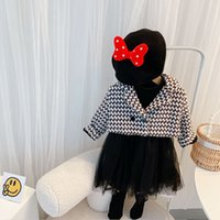 Girls princess clothing sets kids lace tulle tutu dress+plaid lapel double breasted long sleeve coat 2pcs lady style children thicken outfits Q2750