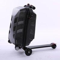 Bavullar Yaratıcı Scooter Haddeleme Bagaj Tekerler Tekerlekler Bavul Arabası Erkekler Seyahat Duffle Alüminyum Taşıma