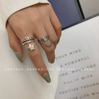 Band Rings Saturn South Korea East Gate Universe Pentagram Chain Ring Female Index Finger S925 Sterling Sier Fashion Personality Trend