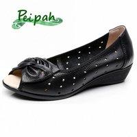 Peipah más Tamaño 35 43 Sandalias de mujer Cuero genuino Casual Cuñas Plataforma Sandalias de verano Mujer Mariposa Nudo Zapatos Madre Zapatos para U56A #