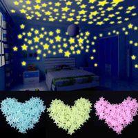 Resplandor 122pcs / Set Stars / Moon / Butterfly Etiqueta engomada para niños Decoraciones de niños Habitación Techo Techo Brillantes Pegatinas de pared Linkals B1 VVPP