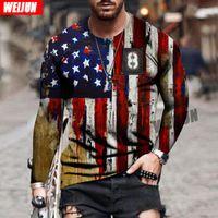 Men's Hoodies & Sweatshirts 2021 Latest Long-sleevedT-shirt Plus Size Clothing Autumn National Flag3D Print Round Neck Casual Retro Sport Lo