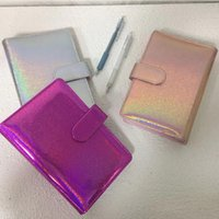 Leather A6 Glitter Notebook Binder Covers Metal 6-hole Spiral Roung Ring Notepad Cover Diary Handbook Case 9 Colors
