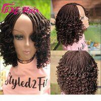 Neue Häkeln Hair Box Braids Curly Perücke Black Brown Ombre Synthetische volle Spitze Front Kurzer Fabser Perücke Für Afrikanische Amaderinnen Frauen
