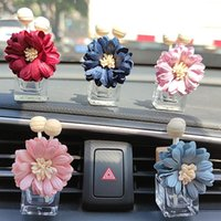 Storage Bottles & Jars 30pcs Empty Refillable Car Perfume Glass Bottle With Clip,Fabric Daisy Flowers Essential Oil Diffuser