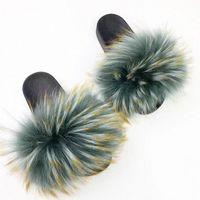 Rass Ple 2019 Mulheres Real Chinelos Raccoon Chinelos Fluffy Slides Sliders Fuzzy Sliders Soft Plush Flip Flops Mules Sapatos de Verão Bearpaw Botas de Bearpaw Sapatos A46E #