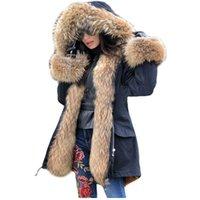 Lavelache Uzun Parka Gerçek Kürk Kış Ceket Kadınlar Doğal Gerçek Kürk Palto Giyim Streetwear Rahat Boy 210902