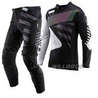 Abbigliamento per moto Black Grey Suit Set Gear Set Kit da corsa Kit Motocross Kit Combo Derth Bike Off Road Jersey Pants