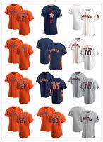 """맞춤식 저지 남성 여성 청소년 휴스턴 """"Astros""""27 Jose Altuve 21 Zack Greinke 2 Alex Bregman 1 Carlos Correa Baseball Jerseys"""
