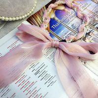 Perles Strass Chaîne Girls Bandeau à cheveux Enfants Floraux Ruban imprimé Arcs Princesse Coiffes de Cheveux Femmes Beach Holiday Bandeaux Q1075