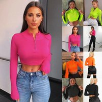 Women's T-Shirt Fashion Wome Ladies Solid Color Sexy Slim Fit Casual Sport Turtleneck Zipper Long Sleeve Short Top Crop