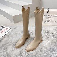 Dress Shoes 2021 Designer Western Black KneeHigh Boots For Women Pointed Toe Cowboy Chunky Square Heel Runway Ladies Motorcycle