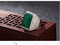 fashion 2pair lots green jade diamond crystal 925 silver men''s ring open size