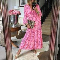 Vestidos casuais mulheres vestido leopardo impressão boêmia sexy longo floral maxi v pescoço flare manga solta verão 2021