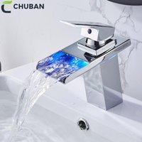 Chuban LED bassin robinet robinet en laiton cascade température Couleurs Changer de salle de bain Mélangeur robinet lavabo lavabo lavabo Tapis de verre N98