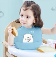 Baby silicone babs 6 colores impermeable almuerzo baberos ajustables niñas niñas niños silicona suave bebé saliva dibujos animados bebé baberos HWA4254