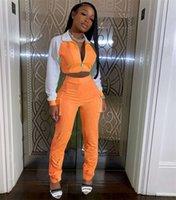 Women Casual Luminous Tracksuits 2 Piece Sets Patchwork Zipper Long Sleeve Et Tops High Waist Trousers Pants