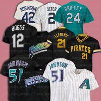 21 Roberto Clemente 51 Randy Johnson 42 Jackie Robinson 12 Wade Boggs 레트로 남성 Mitchell Ness Baseball Jersey Z9