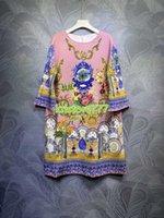 2021 Damskie dziewczyny Vintage Koszulki A-Line Sukienka z Kryształowe Koraliki High End Custom Summer Runway Floral Print Crew Bluzka Midi Sukienki