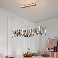 Pendant Lamps Modern Crystal Light Chandelier For Dining Room Luxury Smoky Gray Cristal Brief Kitchen Island Hang
