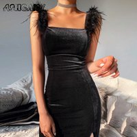 Ashgaily New Sexy Samtkleid Frauen Ärmelloses Kleid Feste Federn Bodycon Kleidung Party Club Outfits Femme 210224