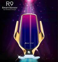 R9 Kablosuz Şarj Glow Otomatik 10 W Araç Şarj IPhone 12 11 Xiaomi 10 Samsung Android Flaş Işık Araba Hızlı Şarj Tutucu Standı