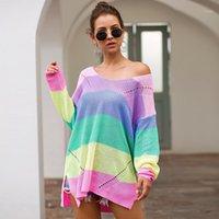 Женщины сексуальные от плеча женщины свитера радуги полосатые свободные пуловеры вязание вязание негабаритных причинно-следственных свитере осень женские наряды1