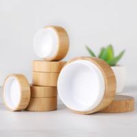 5 ml 10 ml 30 ml Botella de bambú natural de la bambú recargable de la caja de cosméticos de la caja de maquillaje de la crema de la crema del almacenamiento del pote de la botella redonda del contenedor