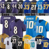 "10 جوستين هربرت 8 لامار جاكسون كرة القدم جيرسي مارلون هامفري J.k. Dobbins Joey Bosa Derwin James Los Angeles ""Chargers"" بالتيمور ""Ravens"" Keenan Allen"