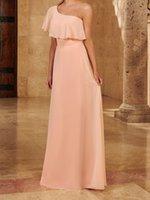 Elegant One Shoulder Bridesmaid Dress Floor Length Chiffon Wedding Party Gowns Dusty Rose